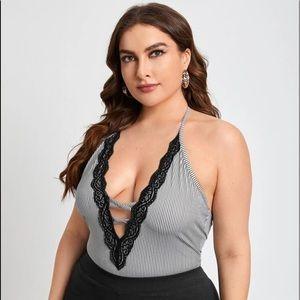 SHEIN Striped Lace Halter Bodysuit Plus Size 2X